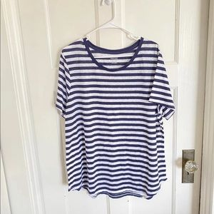 Old Navy navy blue and white women's striped t-shirt XXL NWT